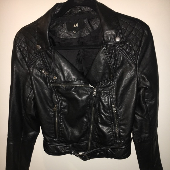 "search for authentic biggest selection big discount of 2019 H&M Women's Black ""Leather"" Biker Jacket"